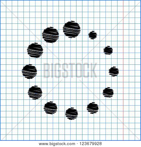 Circular loading sign. Flat style icon with scribble effect on school paper.
