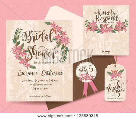 Set of Flower Save The Date Card ( invitation, thank you, Save the date, RSVP, Just Married)
