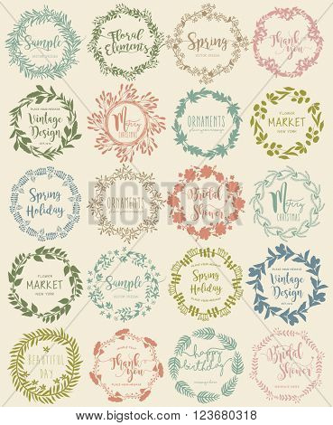 Vector set vintage Floral Wreath labels