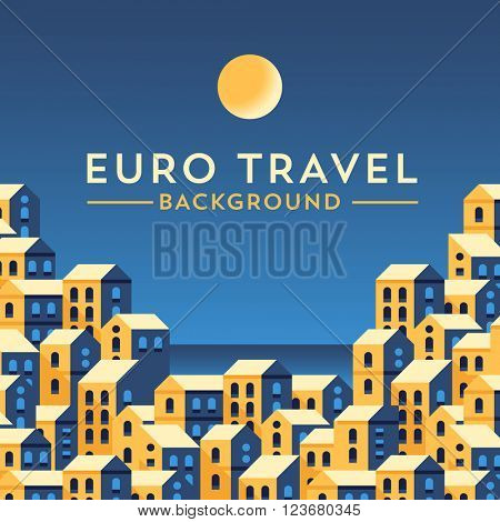 Vector banner template with european landscape. Minimalistic design. Flat illustration style.
