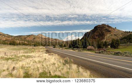 Road Highway in eastern Oregon on 26