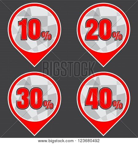 Sale discount labels. Special offer price signs. 10 20 30 and 40 percent off reduction symbols.