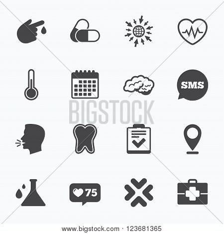 Calendar, go to web and like counter. Medicine, healthcare and diagnosis icons. Tooth, pills and doctor case signs. Neurology, blood test symbols. Sms speech bubble, talk symbols.