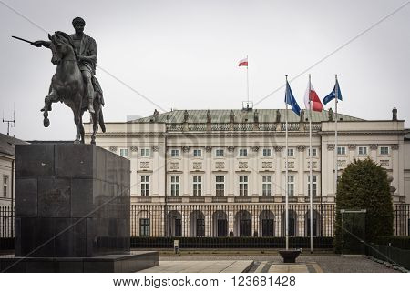 Polish President Palace in Warsaw, Poland, in front of the palace: Bertel Thorvaldsen's equestrian statue of Prince Jozef Poniatowski