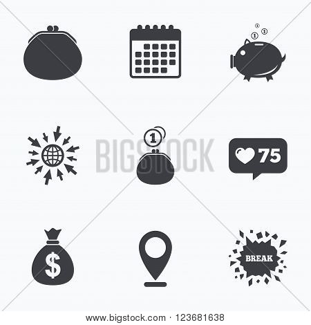 Calendar, like counter and go to web icons. Wallet with cash coin and piggy bank moneybox symbols. Dollar USD currency sign. Location pointer.
