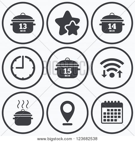 Clock, wifi and stars icons. Cooking pan icons. Boil 13, 14 and 15 minutes signs. Stew food symbol. Calendar symbol.