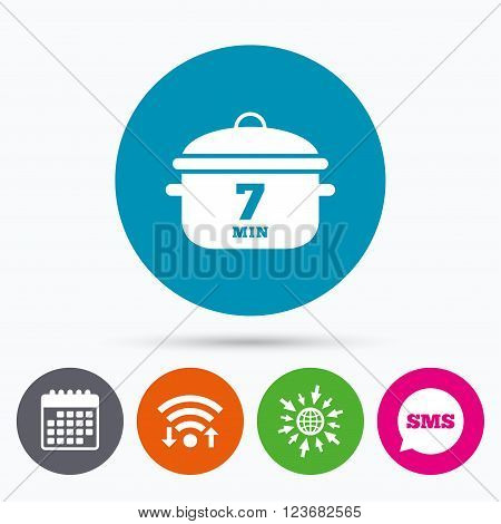 Wifi, Sms and calendar icons. Boil 7 minutes. Cooking pan sign icon. Stew food symbol. Go to web globe.