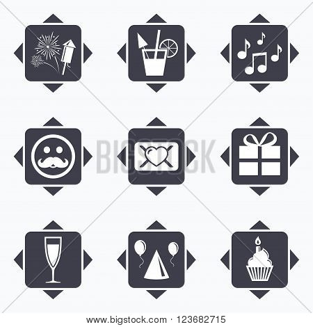 Icons with direction arrows. Party celebration, birthday icons. Musical notes, air balloon and champagne glass signs. Gift box, fireworks and cocktail symbols. Square buttons.