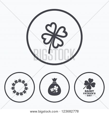 Saint Patrick day icons. Money bag with clover sign. Wreath of quatrefoil clovers. Symbol of good luck. Icons in circles.