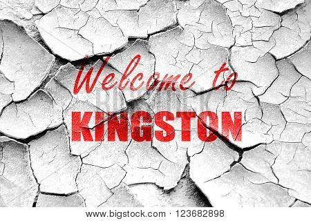 Grunge cracked Welcome to kingston with some smooth lines