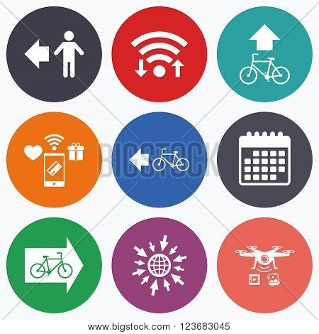 Wifi, mobile payments and drones icons. Pedestrian road icon. Bicycle path trail sign. Cycle path. Arrow symbol. Calendar symbol.