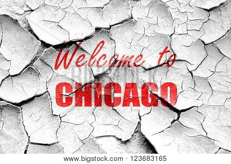 Grunge cracked Welcome to chicago with some smooth lines