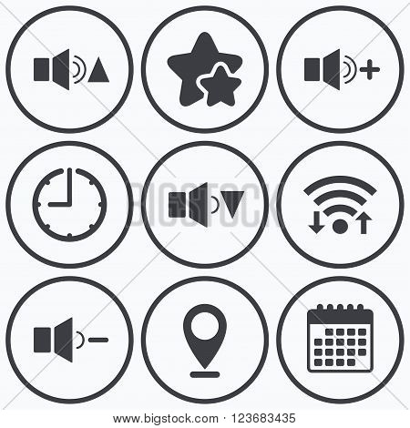 Clock, wifi and stars icons. Player control icons. Sound louder and quieter signs. Dynamic symbol. Calendar symbol.