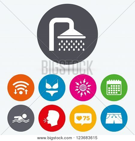 Wifi, like counter and calendar icons. Swimming pool icons. Shower water drops and swimwear symbols. Human swims in sea waves sign. Trunks and women underwear. Human talk, go to web.