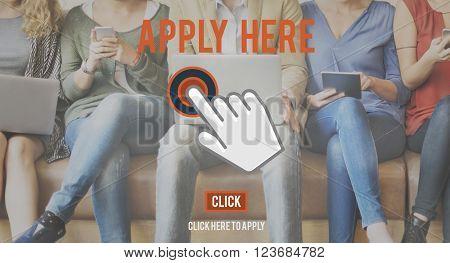 Apply Here Online Application Recruitment Employment Concept