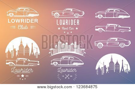 Set vintage lowrider logo badge sign emblems sticers and elements design. Collection black and white classic and retro old car icon - Stock Vector