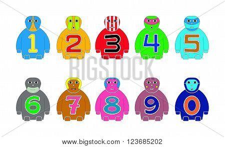 NUMERAL STANDING CHILDREN'S NAMES ZERO - NINE ( 0 - 9 )