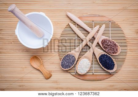 Super Healthy Of Seeds Selection  Flax Seed,chia Seed ,black Sesame And White Sesame In Wooden Spoon