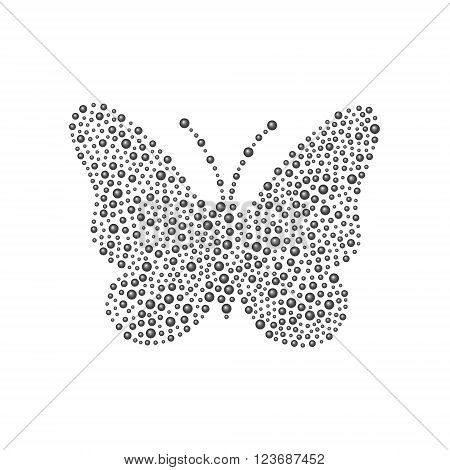 Butterfly in black design on white background