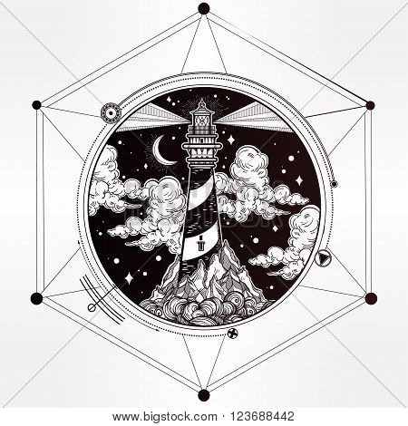 Decorative lighthouse. Searchlight tower for maritime navigational guidance. Template in boho style. Isolated Vector illustration. Tattoo, travel, adventure, meditation symbol. The great outdoors.