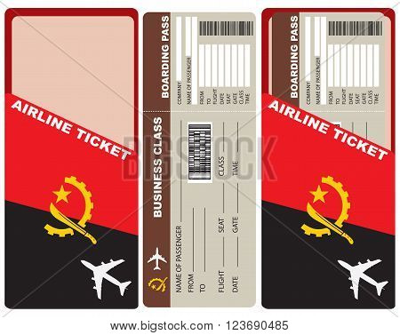Business Class Flight departing flights to Angola. Ticket included with the envelope and the authentic character of the country.