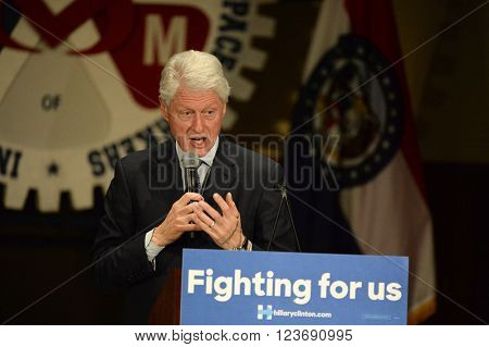Bridgeton, MO, USA - March 08, 2016: Former president Bill Clinton speaks to supporters of wife and presidential democratic candidate Hillary Clinton, at District 9 Machinists Hall in Bridgeton, MO.