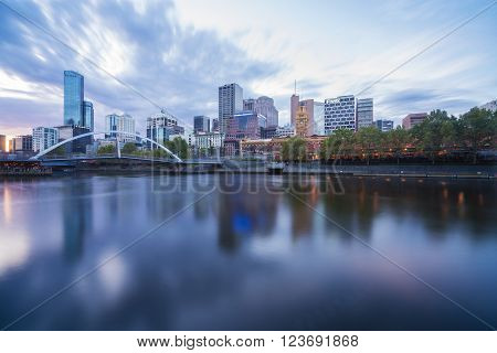 Melbourne, Australia - Mar 17, 2016:  View of skyline and Yarra River in Melbourne CBD at sunset