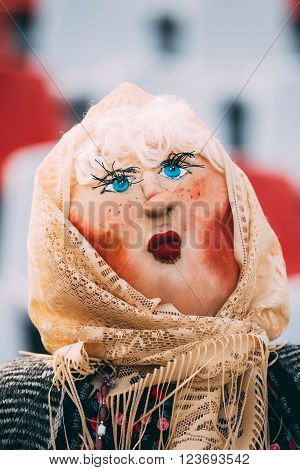 Attribute of traditional folk celebration of Maslenitsa - effigy out of straw, decorated with pieces of rags. Maslenitsa effigy is to be incinerated, representing farewell to winter and coming of spring