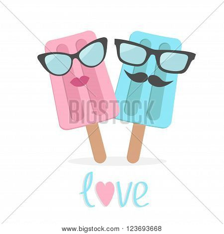 Ice cream couple with lips mustaches and eyeglasses. Love card. Vector illustration.