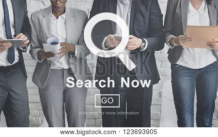 Search Now Searching Magnifying Seeking Concept