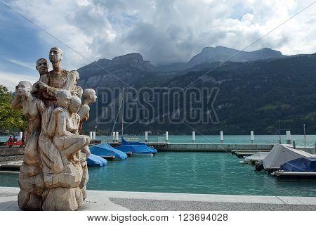 famous woodcarving sculpture in Brienz, Lake Brienz, Switzerland