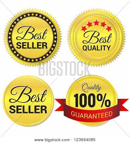 Best Seller Best Quality and Quality guaranteed gold Label vector