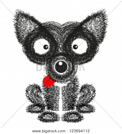 Funny dog drawing vector on white background