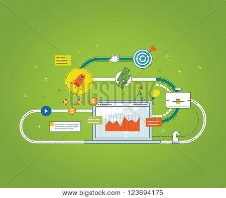 Flat design illustration concepts for business analysis and planning, financial strategy. Investment business. Investment growth. Strategy for successful business.