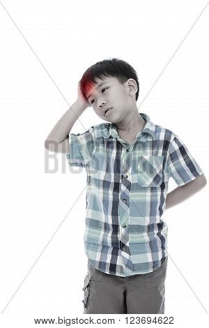 Asian handsome boy have a headache, his hand on head, emotion feeling sign. Isolated on white background. Negative human emotion, facial expression feeling reaction. Studio shot.