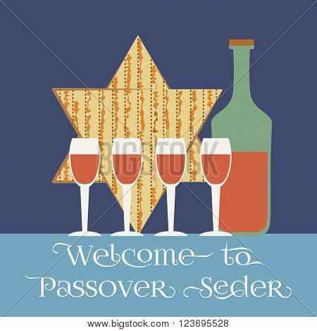 Happy Passover poster, card. Matzah bread, wine for Passover, Pesach celebration. Idea for card with kosher matzoh, decoration, invitation for pesach festival seder dinner. Vector illustration.