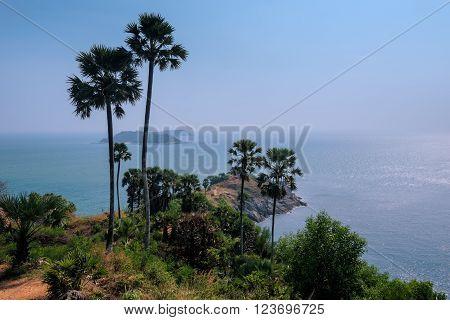 Phromthep Cape Viewpoint Phuket Thailand. beach near Nai Harn beach and Promthep Cape Andaman sea Phuket Thailand
