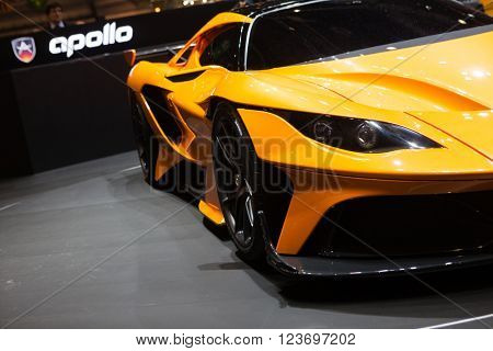 GENEVA, SWITZERLAND - MARCH 1: Geneva Motor Show on March 1, 2016 in Geneva, Gumpert Apollo Arrow, front-side view