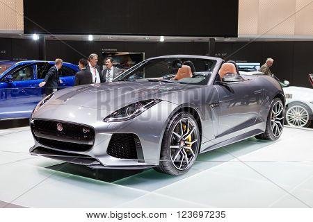 GENEVA, SWITZERLAND - MARCH 1: Geneva Motor Show on March 1, 2016 in Geneva, Jaguar F-Type SVR, front-side view