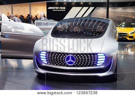 GENEVA, SWITZERLAND - MARCH 1: Geneva Motor Show on March 1, 2016 in Geneva, Mercedes-Benz F 015 Concept Vehicle, front view