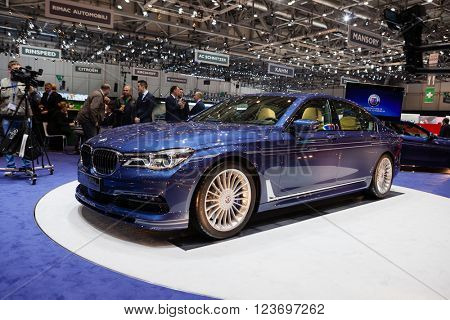 GENEVA, SWITZERLAND - MARCH 1: Geneva Motor Show on March 1, 2016 in Geneva, BMW Alpina B7 Bi-turbo, front-side view