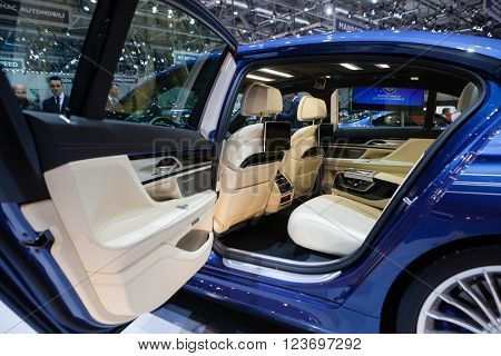 GENEVA, SWITZERLAND - MARCH 1: Geneva Motor Show on March 1, 2016 in Geneva, BMW Alpina B7 Bi-turbo, rear seat interior view