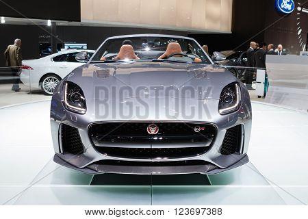 GENEVA, SWITZERLAND - MARCH 1: Geneva Motor Show on March 1, 2016 in Geneva, Jaguar F-Type SVR, front view