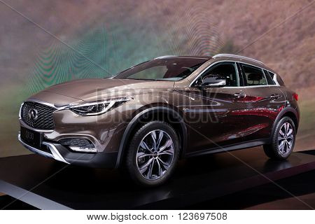 GENEVA, SWITZERLAND - MARCH 1: Geneva Motor Show on March 1, 2016 in Geneva, Infiniti QX30, front-side view