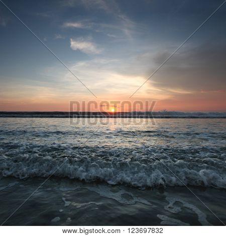 Radiant sea beach sunset on Bali