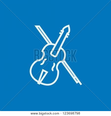 Violin with bow line icon.