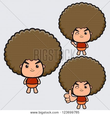 Afro boy cartoon character , emotion of cartoon character
