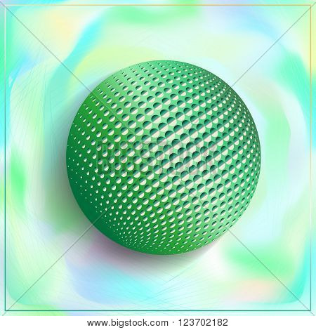 3D Illustration sphere with Halftone-Effect in the background on a blurred fog background