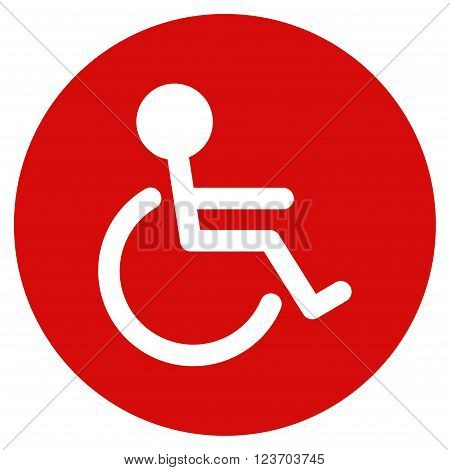 Handicapped vector icon. Image style is a flat light icon symbol on a round red button