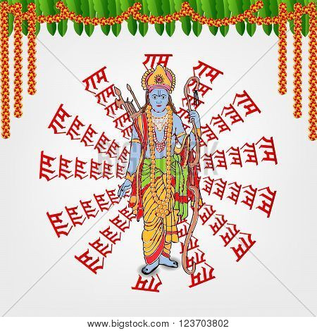 illustration of a background with hindi text for Ram Navami .